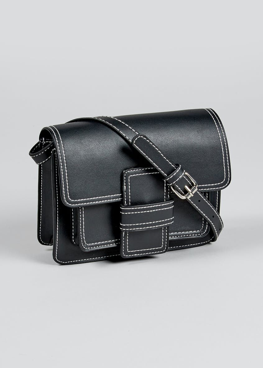 Contrast Stitch Cross-Body Bag