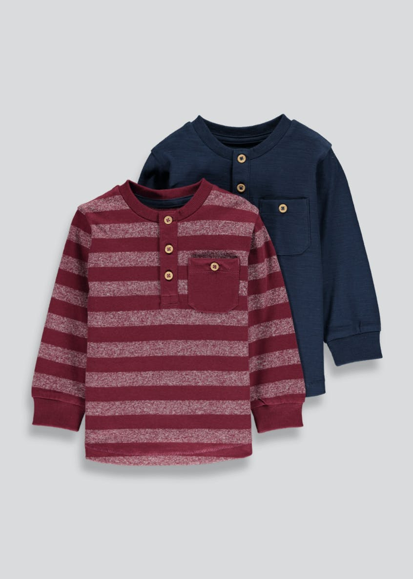 Boys 2 Pack Long Sleeve Henley Tops (9mths-6yrs)