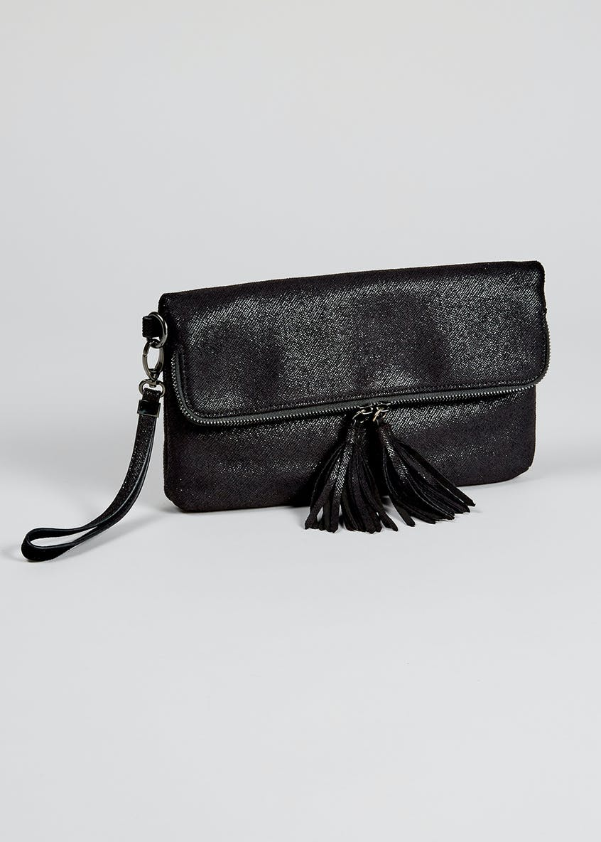 Foldover Tassel Clutch Bag