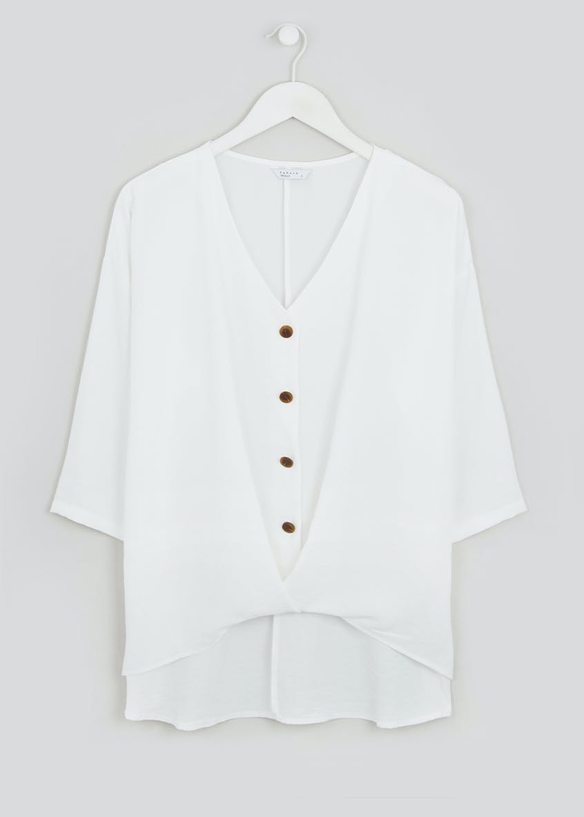 Cream 3/4 Sleeve Twist Front Button Blouse