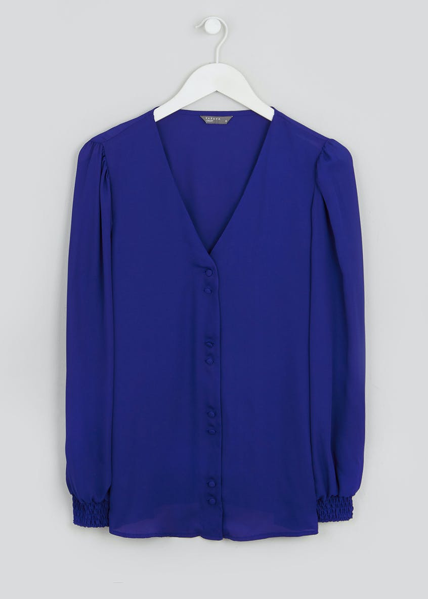 Blue Gathered Long Sleeve Button Blouse