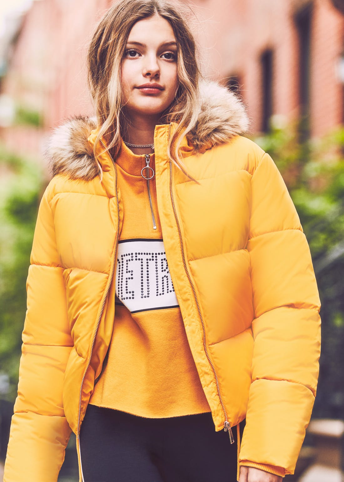 Girls Candy Couture Mustard Padded Coat (9-16yrs)