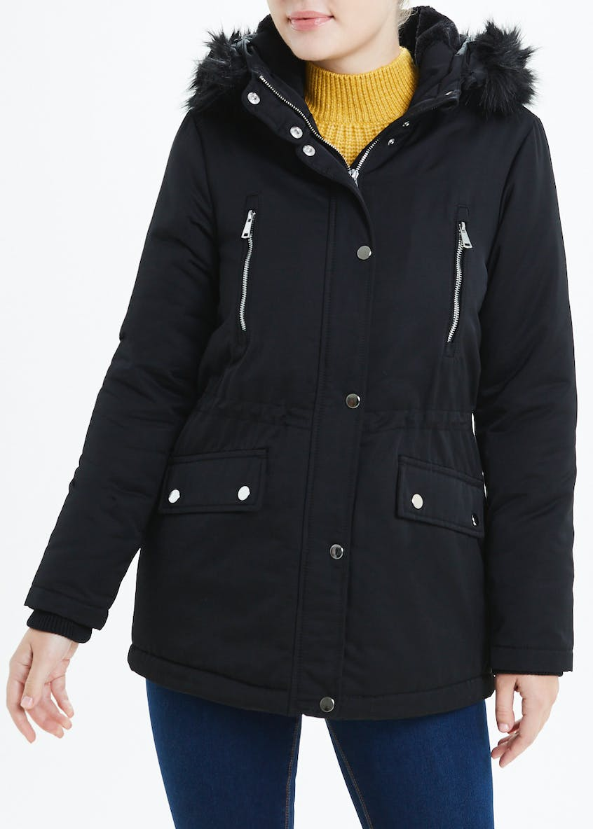 Black Fur Lined Parka