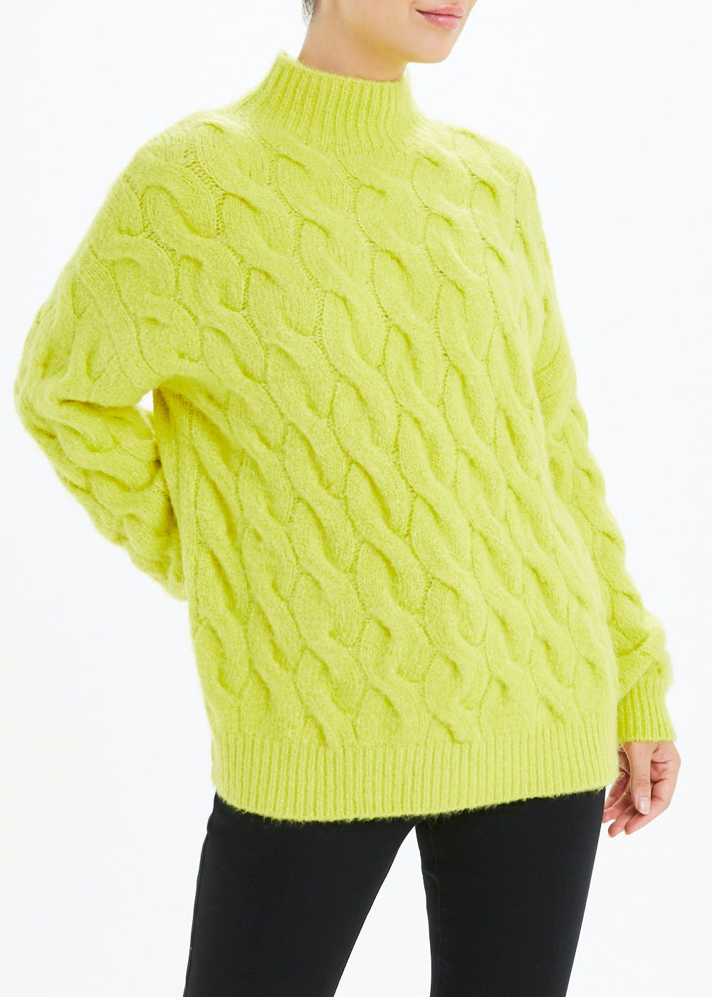Funnel Neck Chunky Jumper – Lime