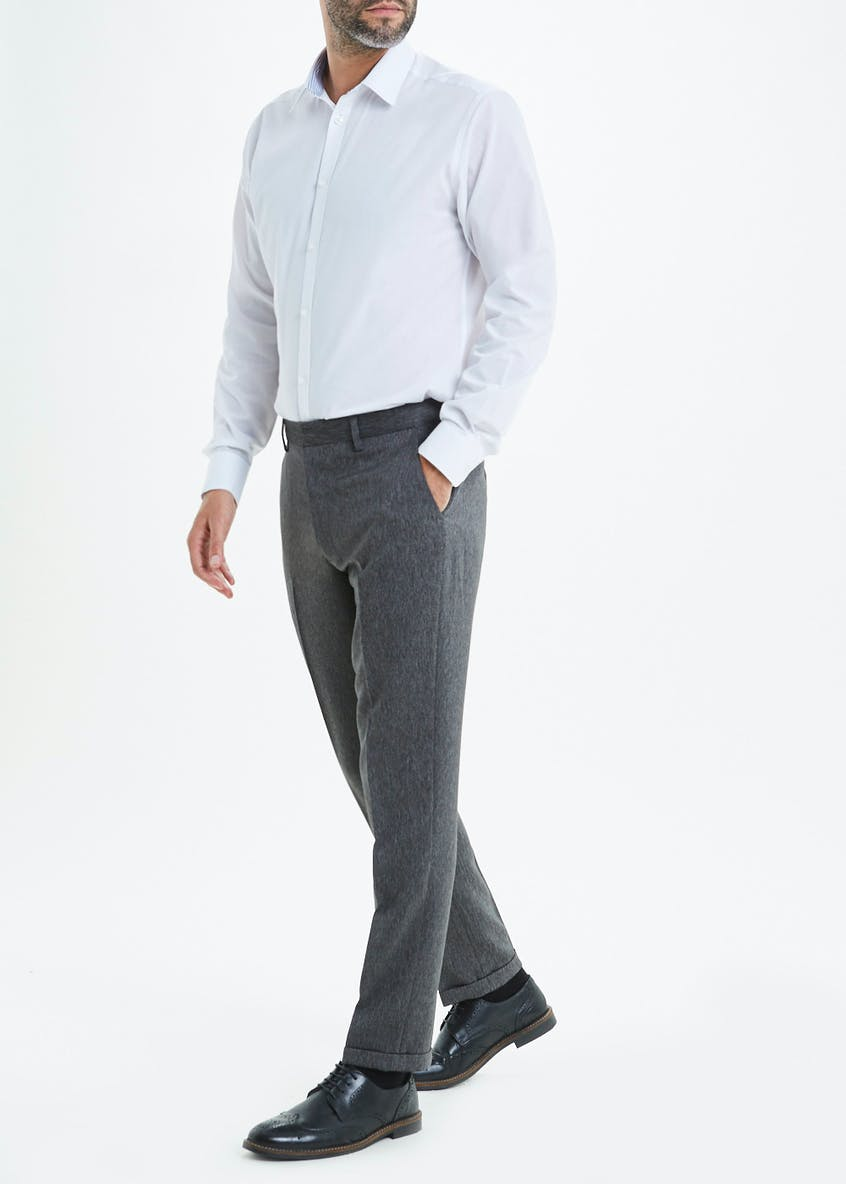 Taylor & Wright Slim Fit Grey Lorton Donegal Trousers