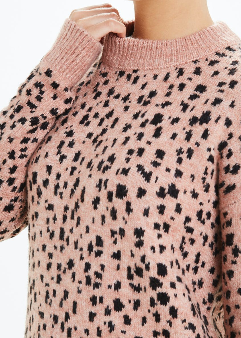 Long Line Dalmation Print Jumper