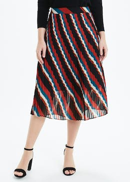 Soon Stripe Pleated Midi Skirt