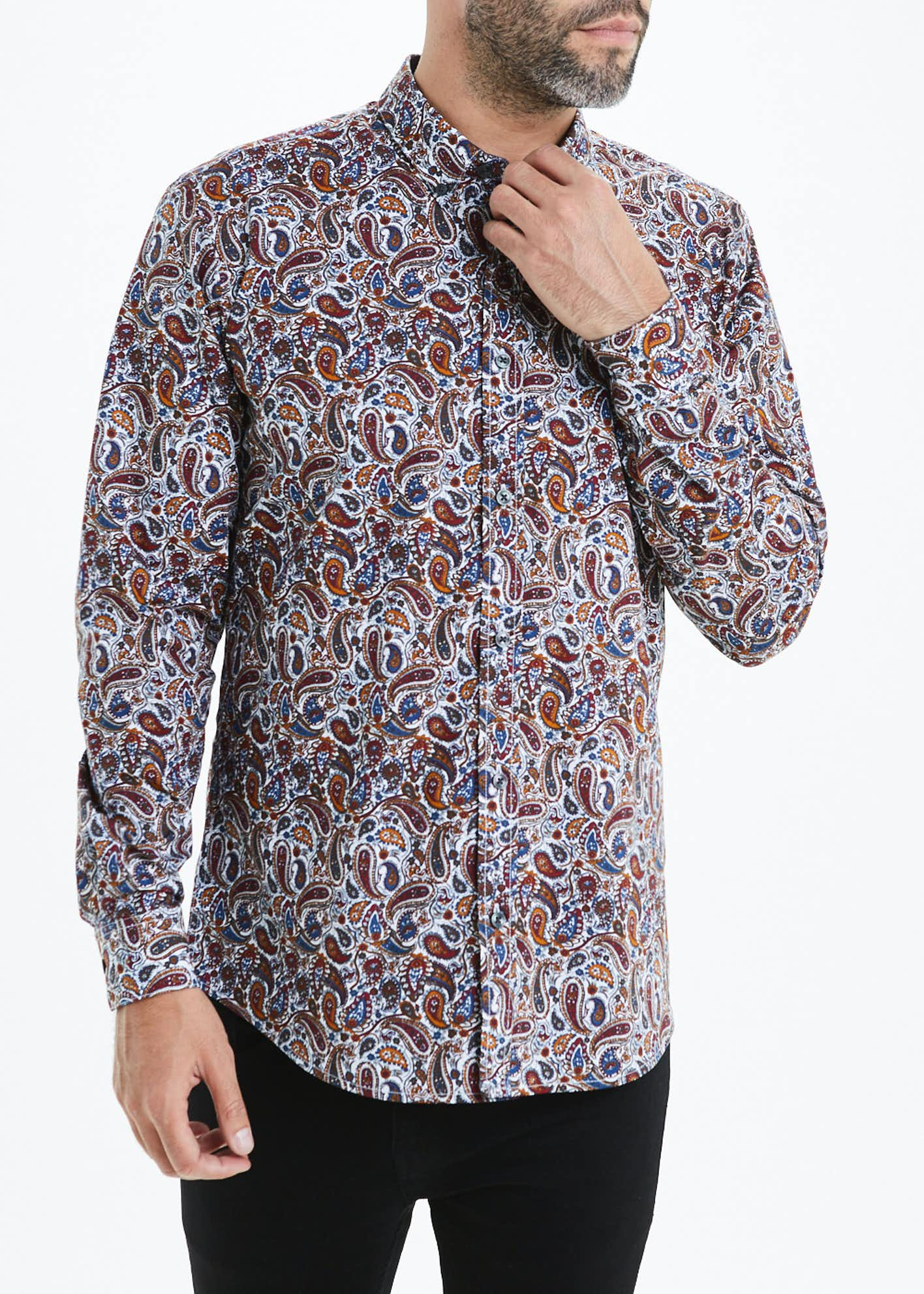 Easy Black Label Long Sleeve Paisley Shirt