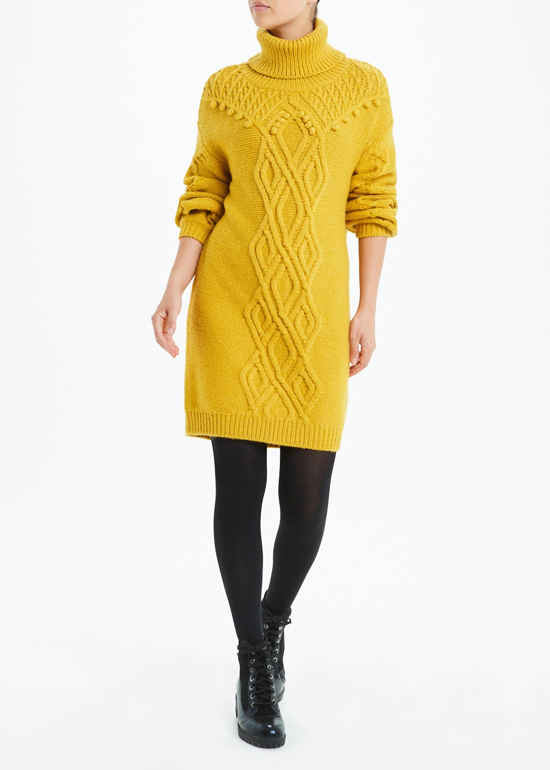 Yellow Long Sleeve Cable Knit Jumper Dress