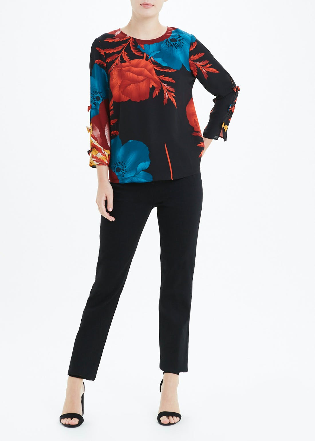 Soon Floral Print Blouse with Bow Detail