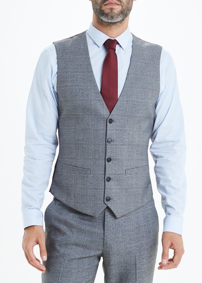 Rydal Skinny Fit Check Suit Waistcoat