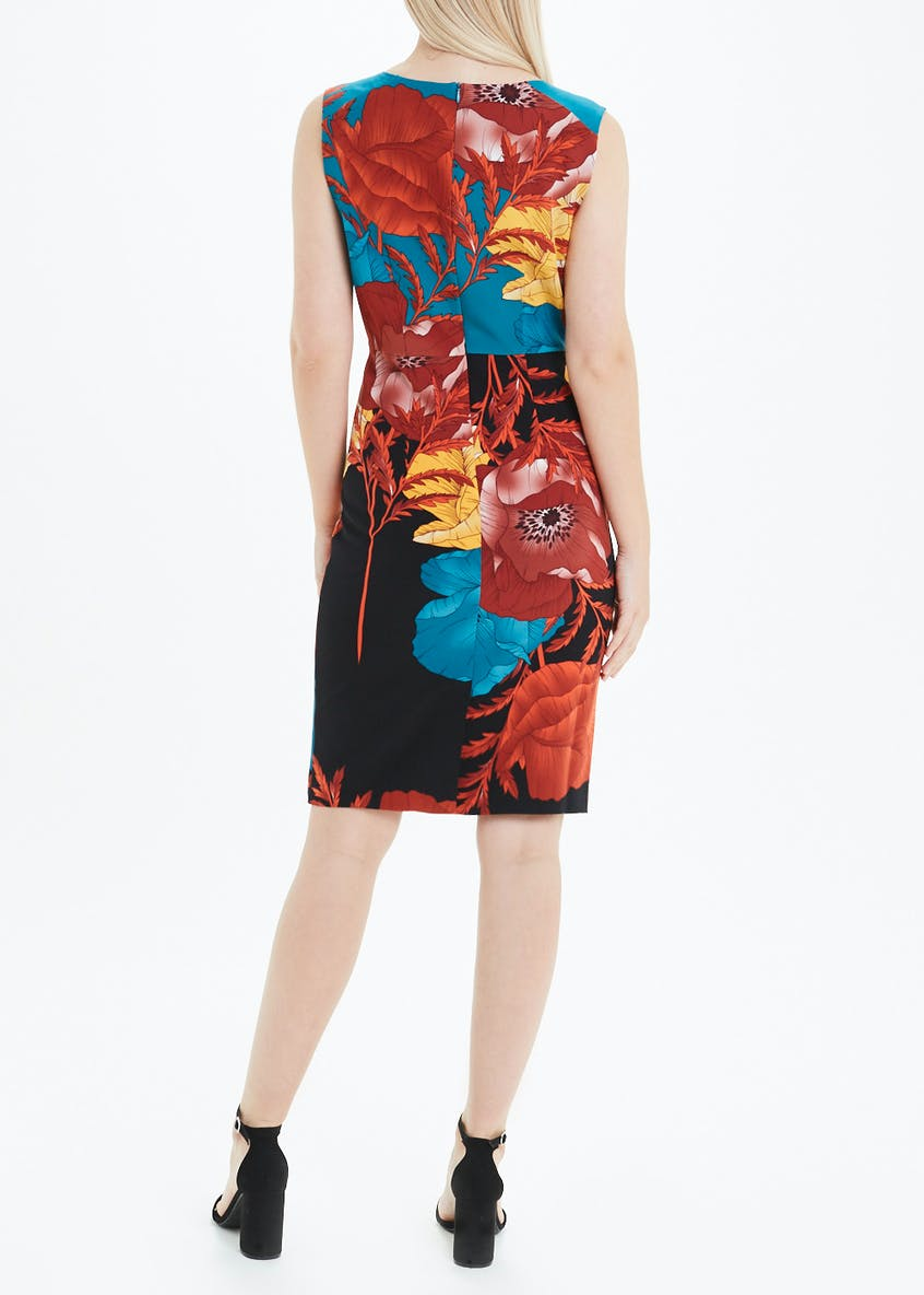 Soon Sleeveless Floral Scuba Pencil Dress