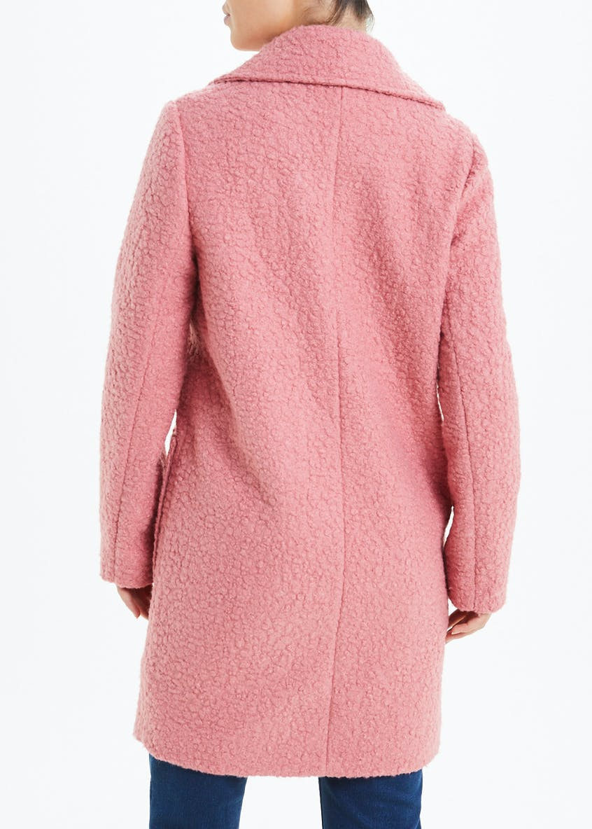 Pink Boucle Double Breasted Coat