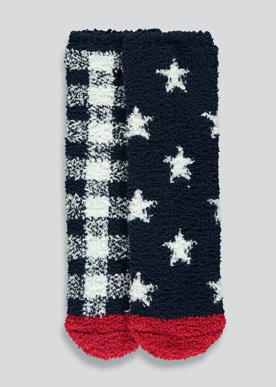 Kids Checked Star Slipper Socks (Younger 6-Older 5.5)