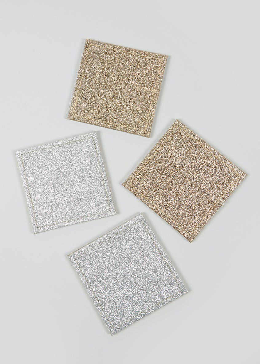 4 Pack Reversible Glitter Coasters (10cm x 10cm)
