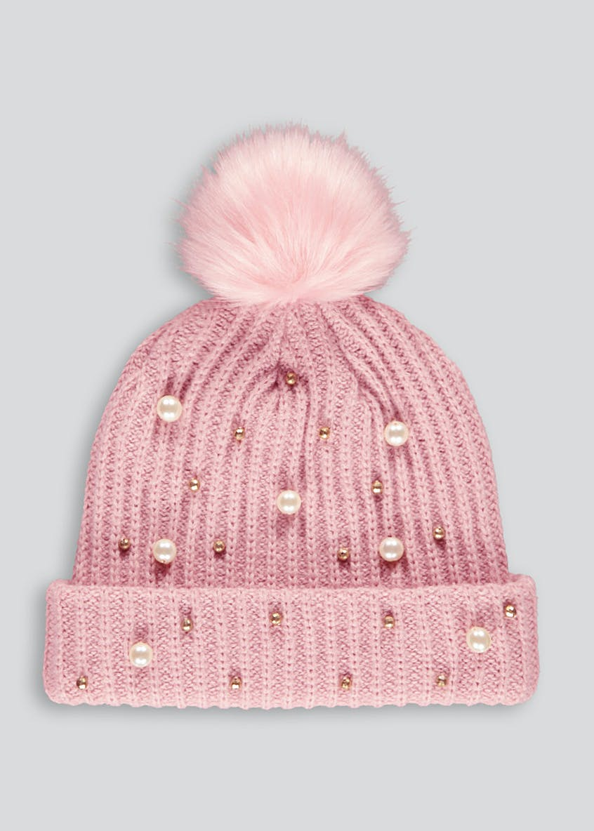 Girls Faux Fur Pearl Bobble Hat (7-13yrs)