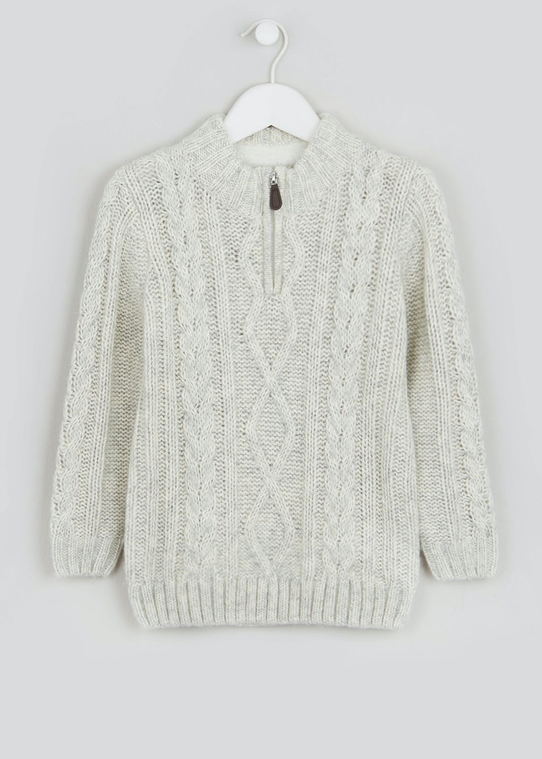 Boys Borg Lined Cable Knit Jumper (4-13yrs)