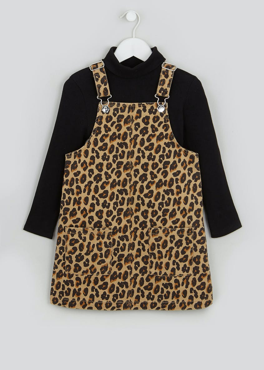 Girls Top & Leopard Pinafore Set (4-13yrs)