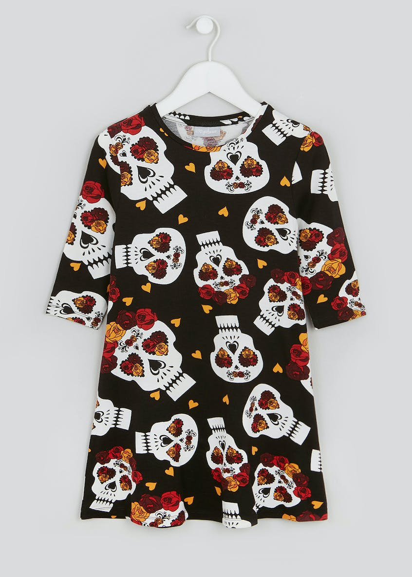 Girls Day Of The Dead Halloween Dress (4-13yrs)