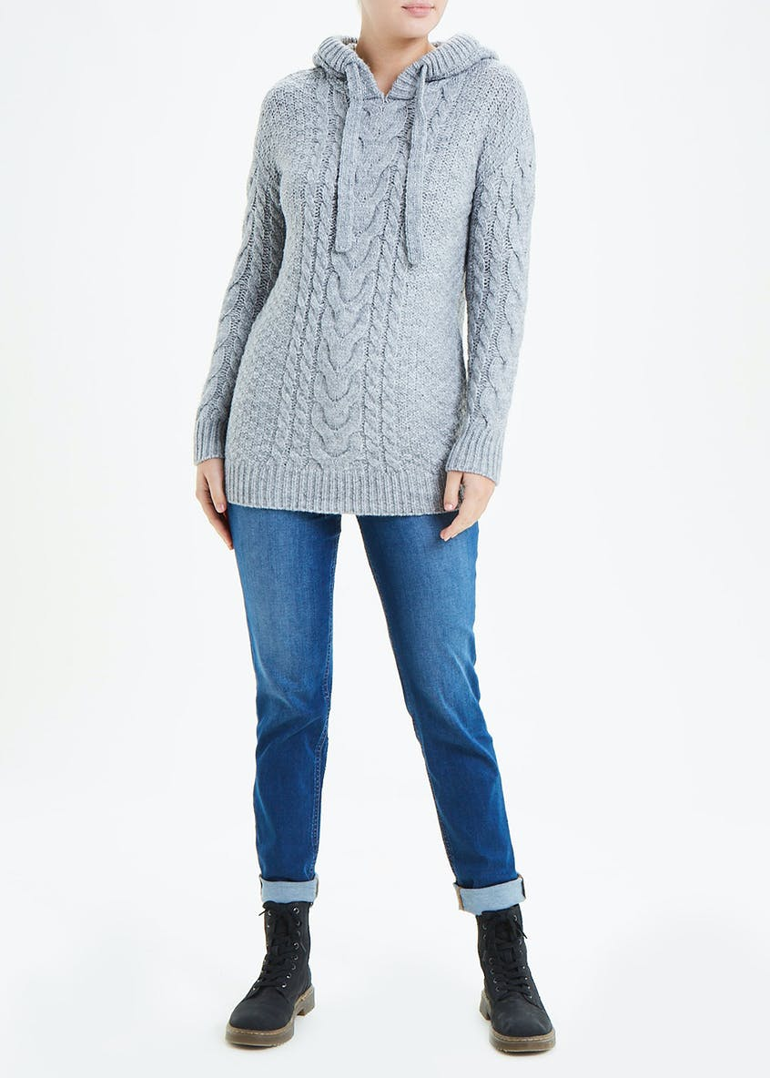 Falmer Cable Knit Longline Hoodie