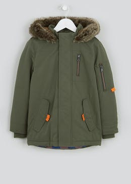 Boys Khaki Borg Lined Parka Jacket (4-13yrs)