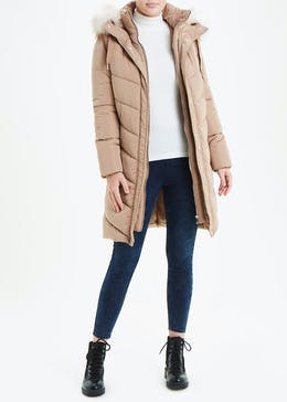 Chevron Padded Hooded Coat