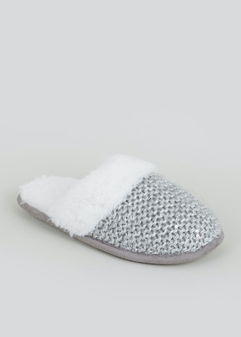 Sequin Knitted Mule Slippers