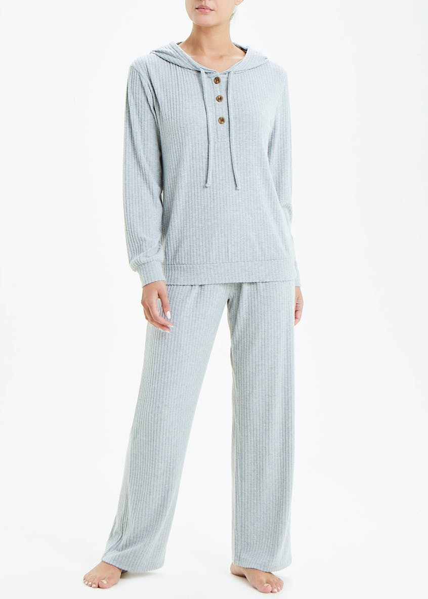 Ribbed Hooded Lounge Pyjama Set