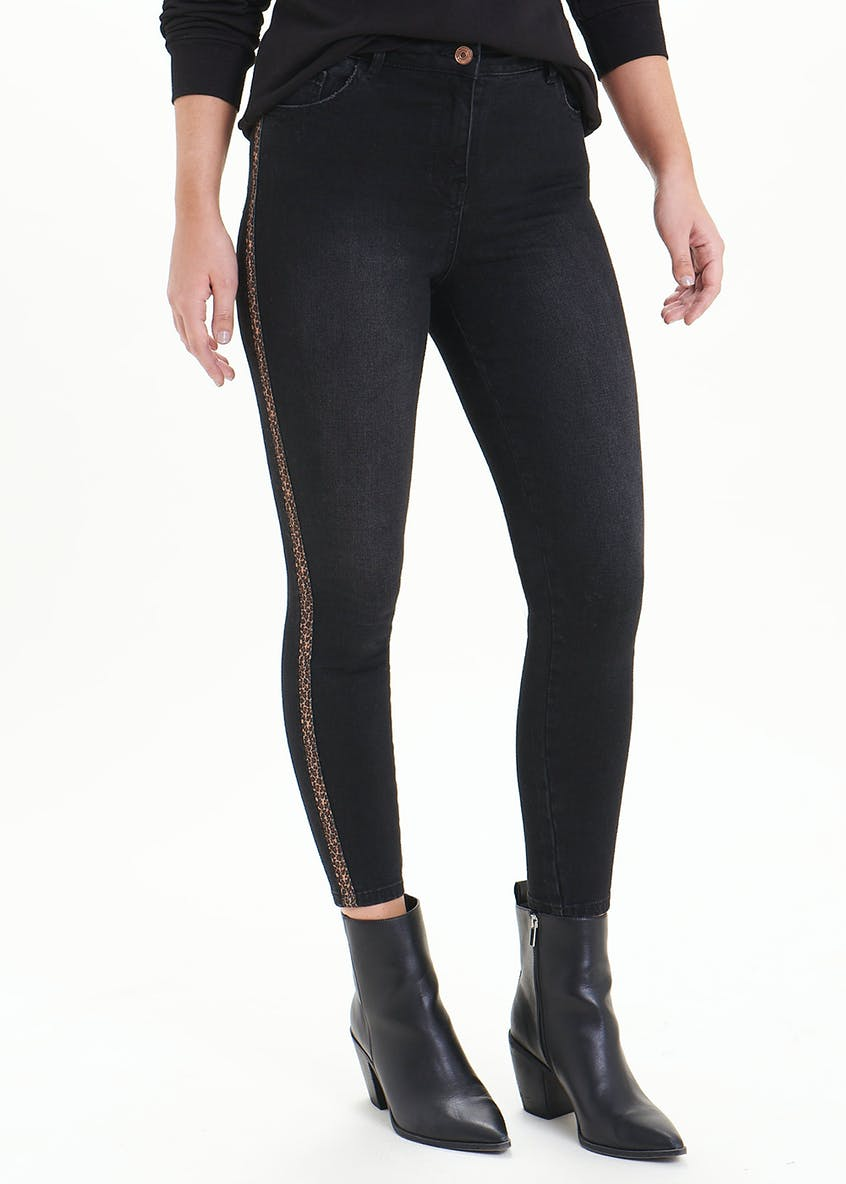 April Leopard Print Side Stripe Ankle Grazer Jeans