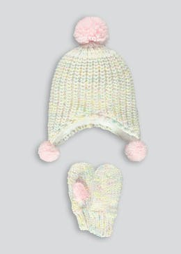Girls Multi Bobble Trapper Hat and Mittens Set (3-6yrs)