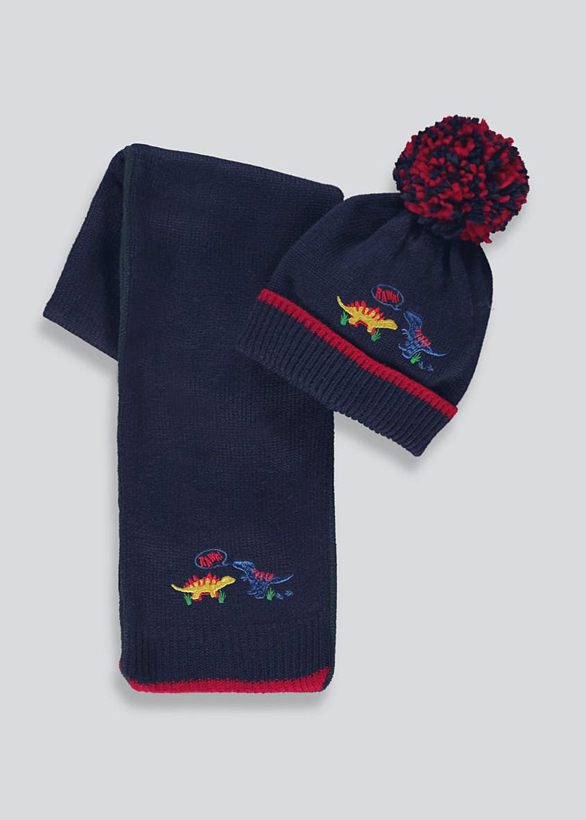 Kids Dinosaur Bobble Hat and Scarf Set (One Size)