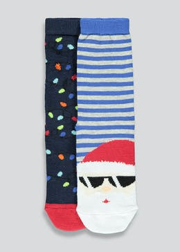 Kids 2 Pack Santa Christmas Socks (Younger 4-Older 3.5)