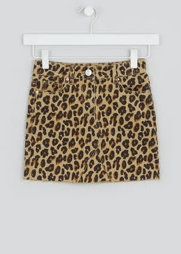 Girls Leopard Print Denim Skirt (4-13yrs)
