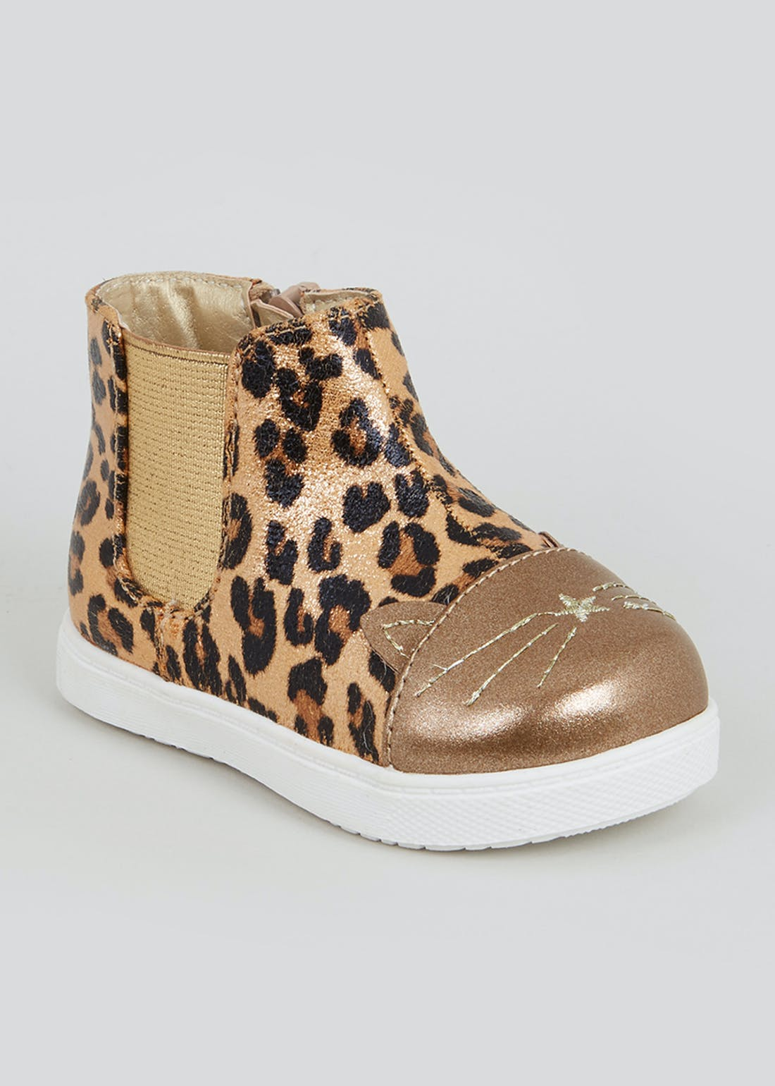 Girls 1st Walkers Gold Leopard Ankle Boots (Younger 3-7)
