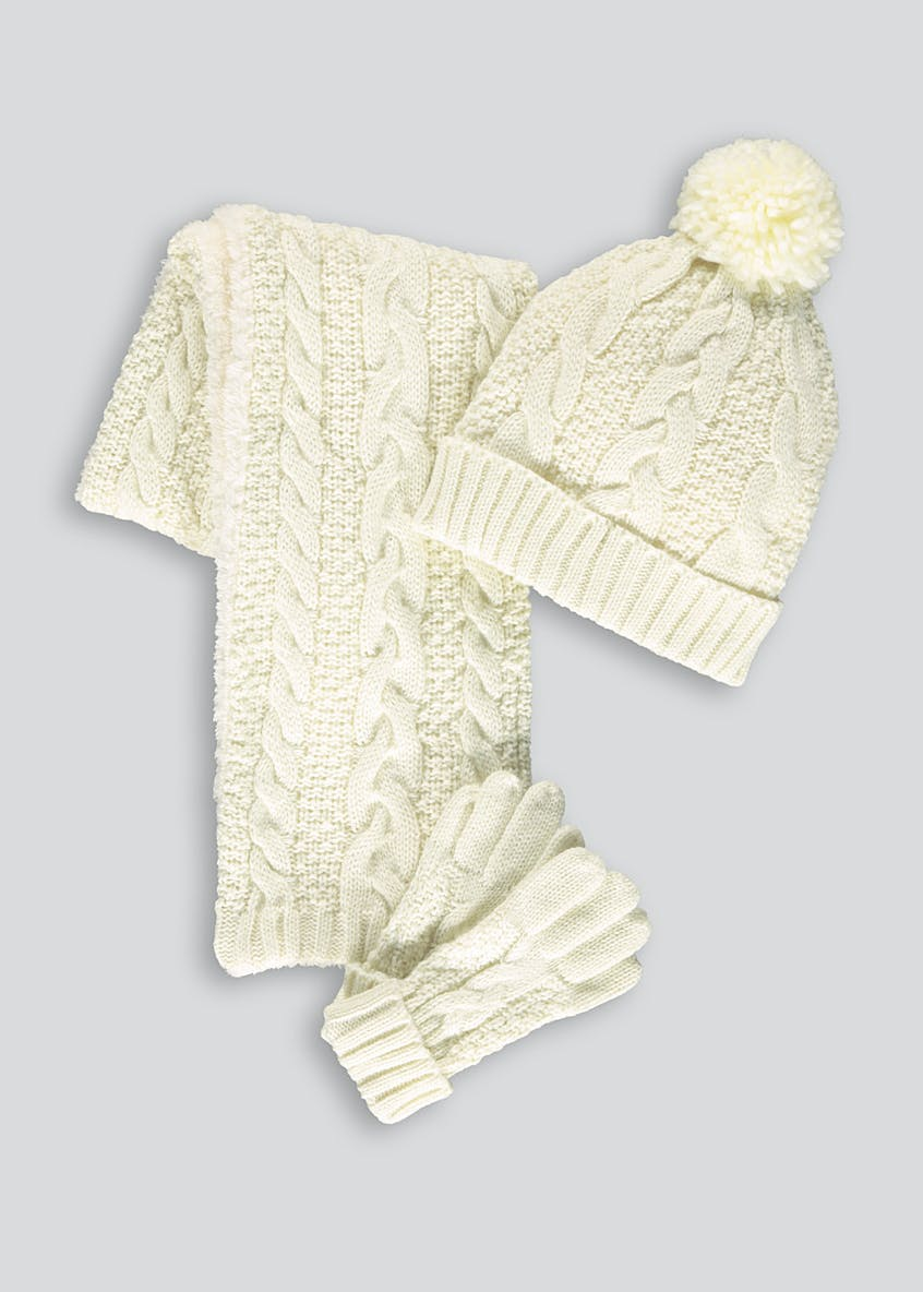 Girls Cable Knit Hat Scarf and Gloves Set (3-13yrs)