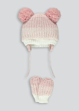 Girls Pom Pom Hat & Mittens Set (0-24mths)