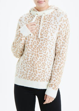 Falmer Animal Print Knitted Hoodie