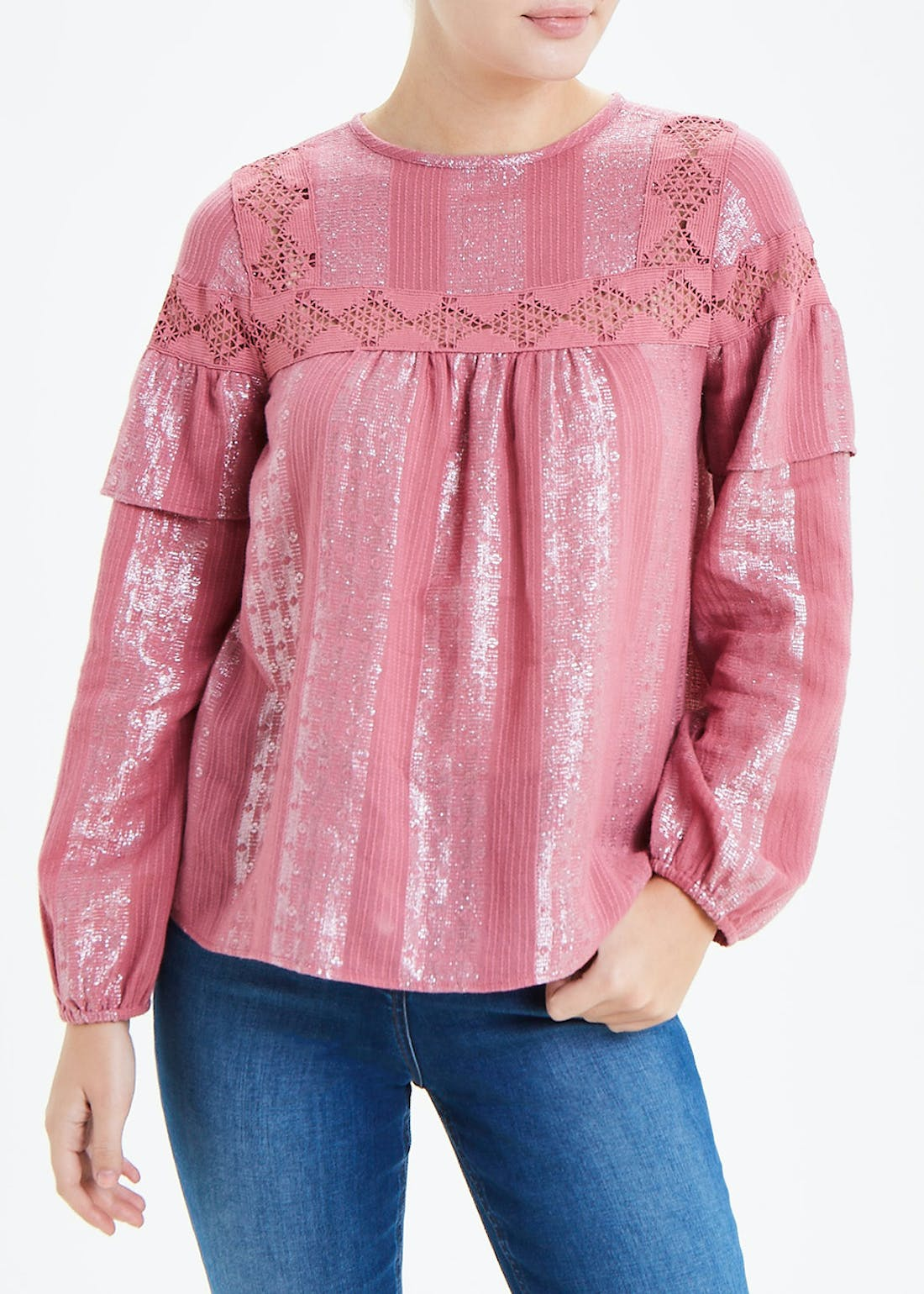 Falmer Pink Long Sleeve Frill Blouse