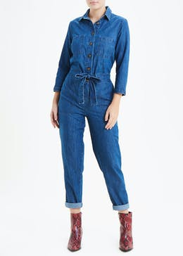 Denim Belted Boiler Jumpsuit