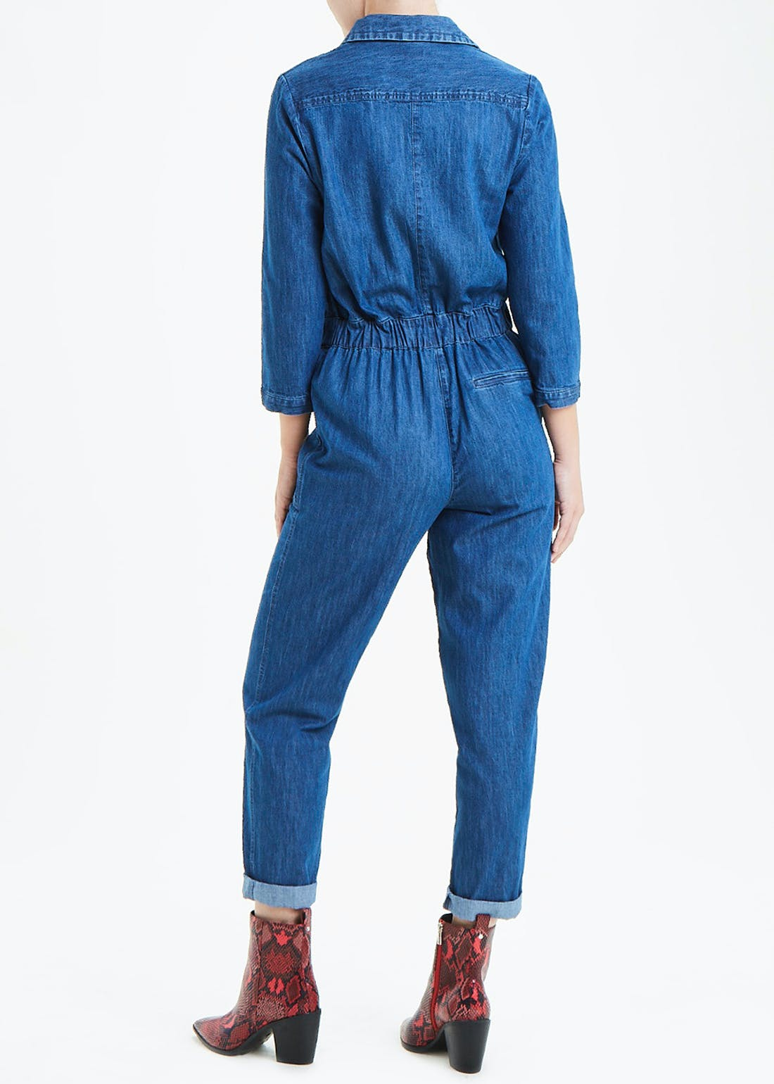 Long Sleeve Denim Belted Boiler Jumpsuit
