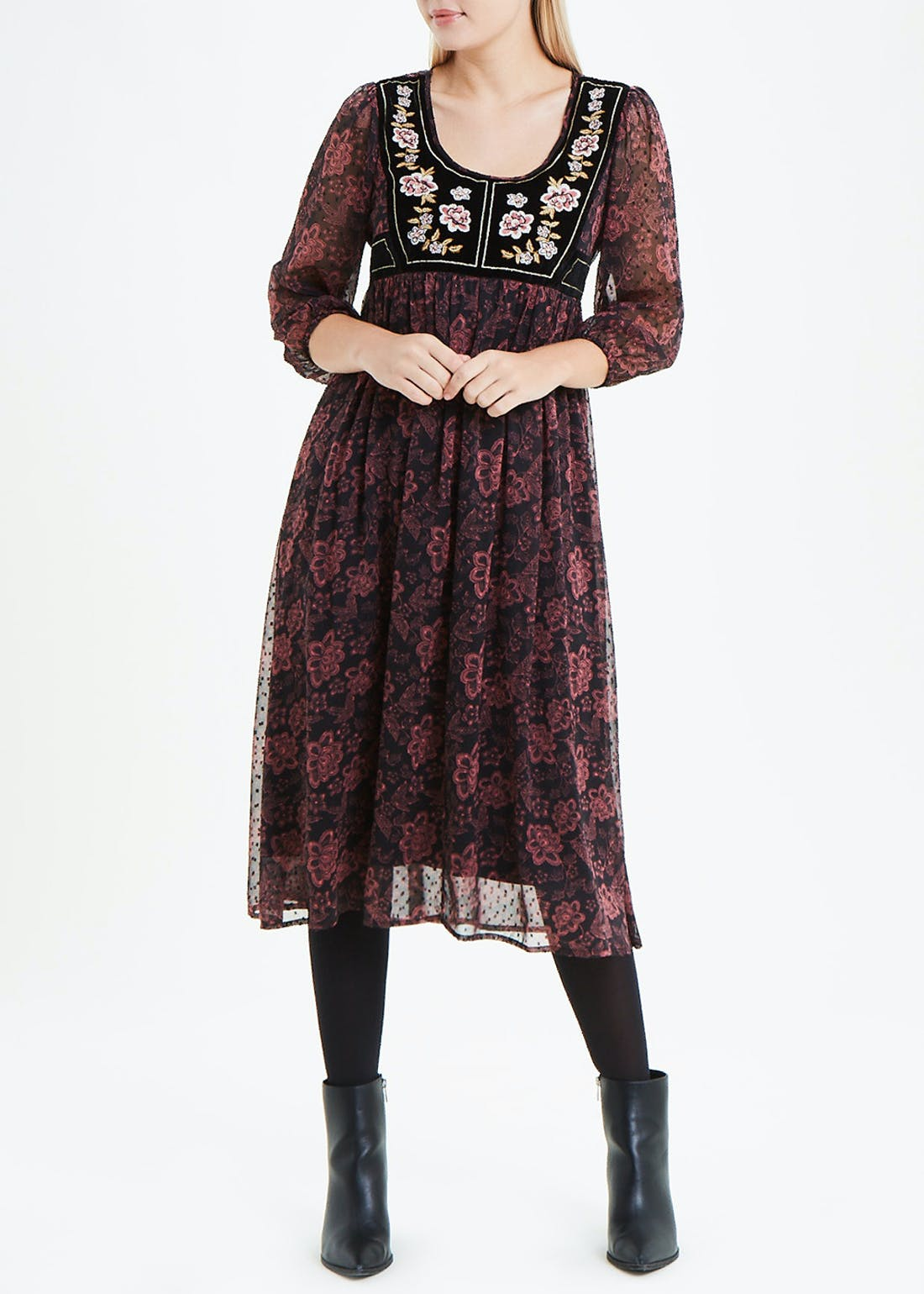 Falmer Black 3/4 Sleeve Velvet Yoke Dress