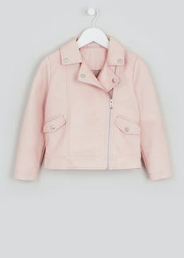Girls Pink Leather Look Biker Jacket (4-13yrs)
