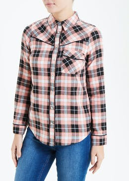 Falmer Pink Long Sleeve Western Check Shirt