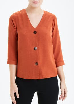 Rust 3/4 Sleeve Button Front Blouse