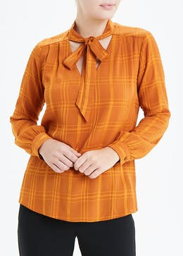 Mustard Long Sleeve Pussy Bow Blouse