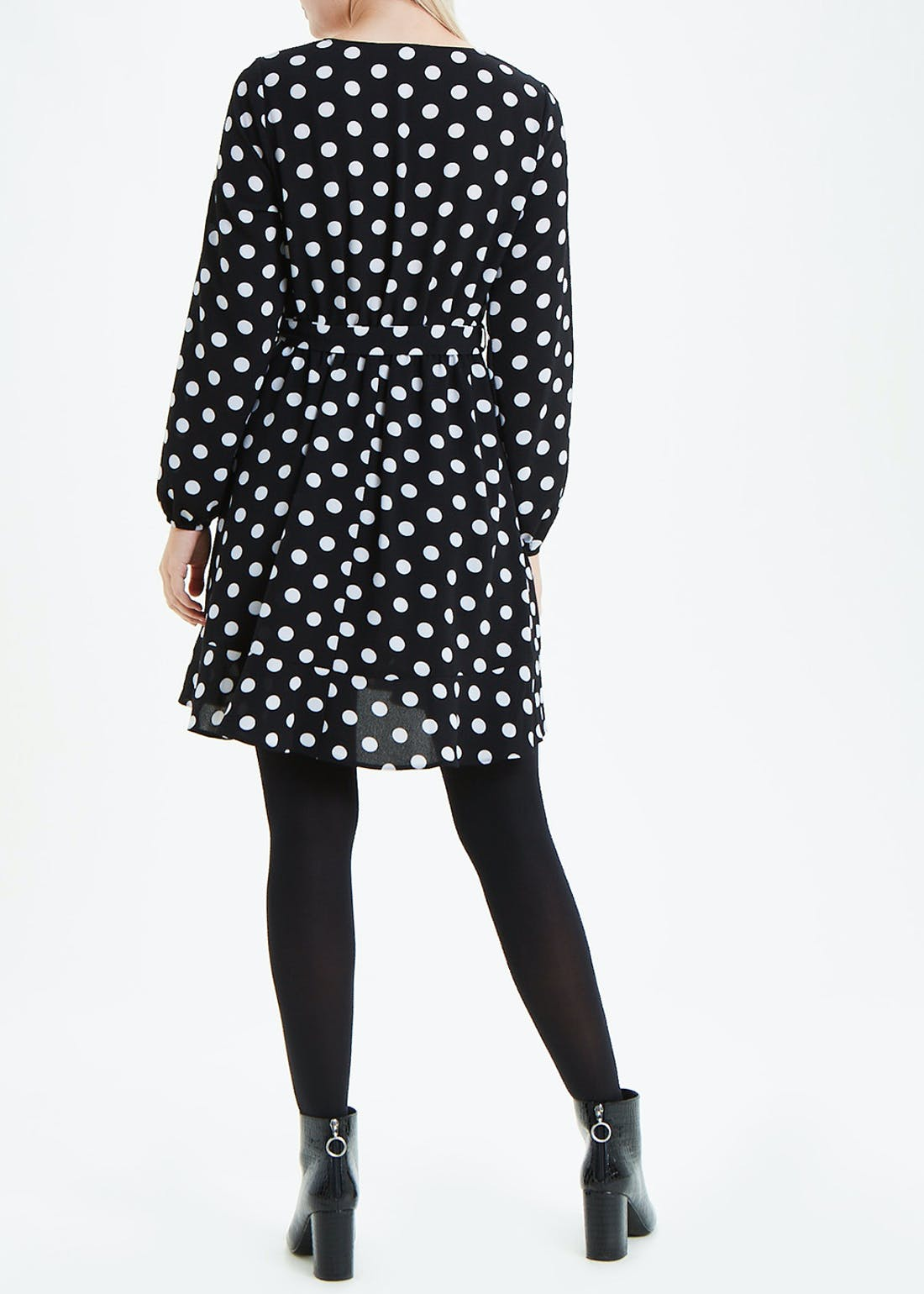 Black Long Sleeve Polka Dot Wrap Dress