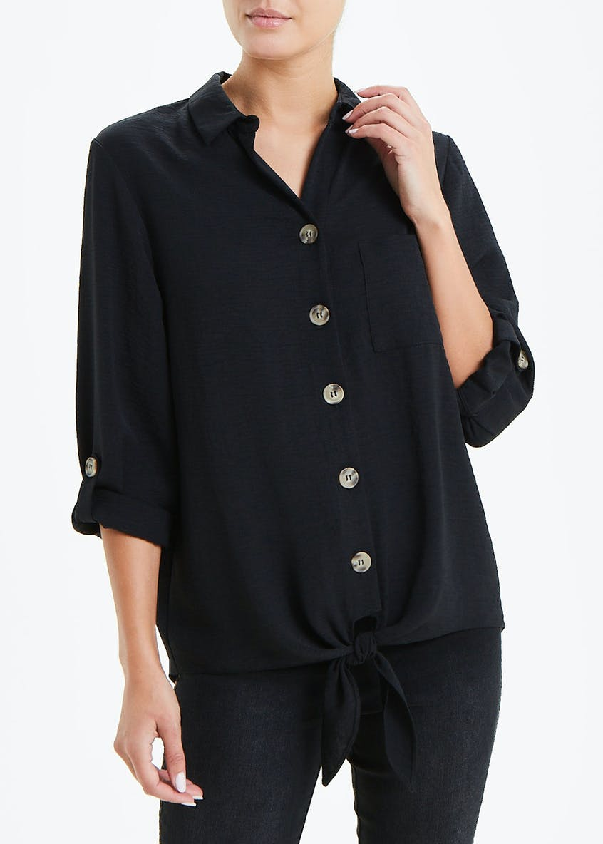Black 3/4 Sleeve Tie Front Button Shirt