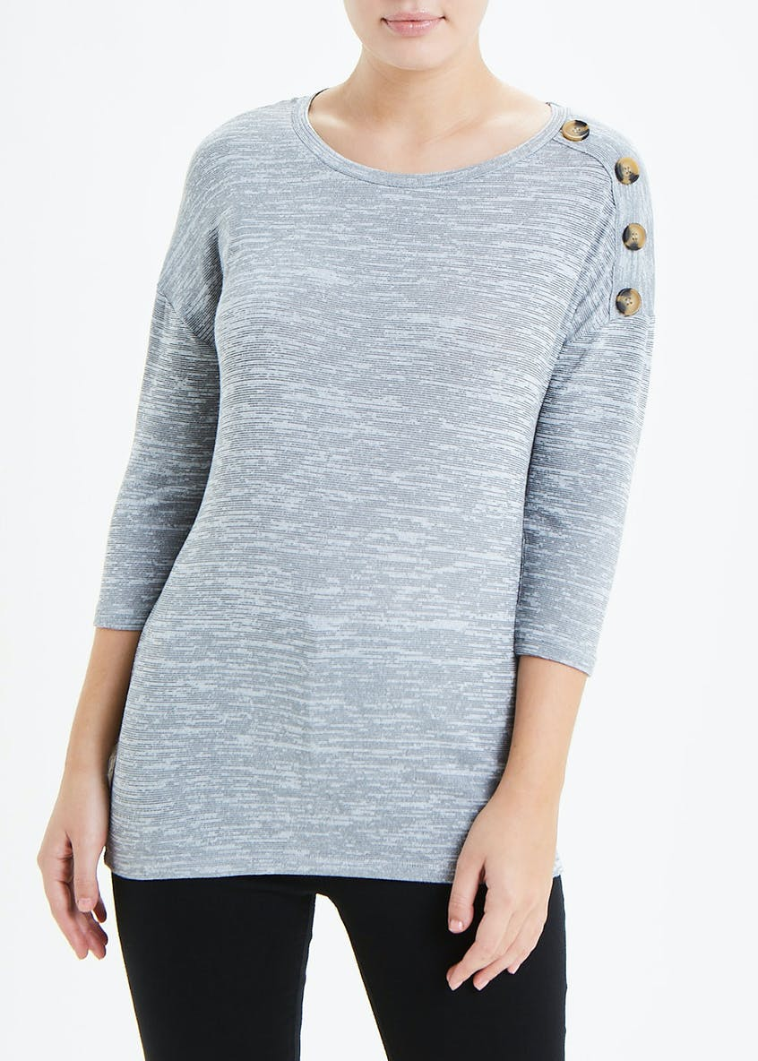 3/4 Sleeve Button Detail Top