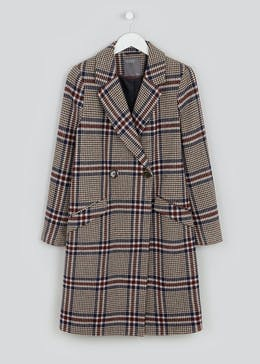 Papaya Petite Check Double Breasted Coat