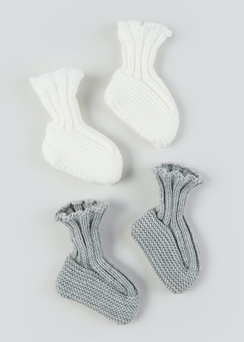 Unisex 2 Pack Soft Sole Knitted Booties (Newborn-12mths)